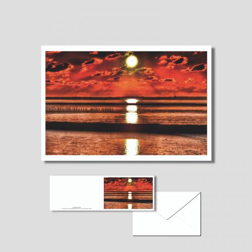 Het wad - ondergaande zon